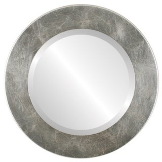 Cafe Framed Round Mirror in Silver Leaf with Brown Antique - Silver/Brown