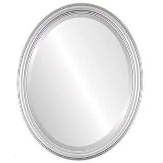 Saratoga Framed Oval Mirror in Silver Spray
