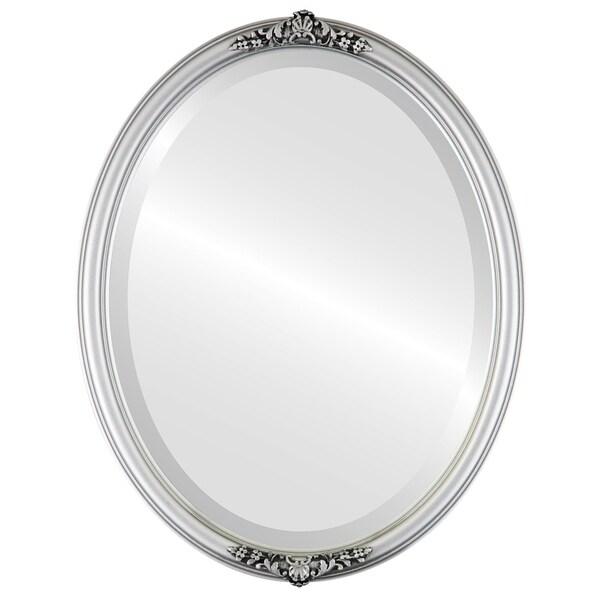 Contessa Framed Oval Mirror in Silver Spray