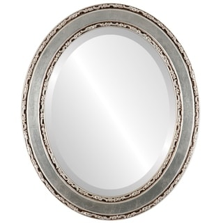 Monticello Framed Oval Mirror in Silver Leaf with Brown Antique - Silver/Brown