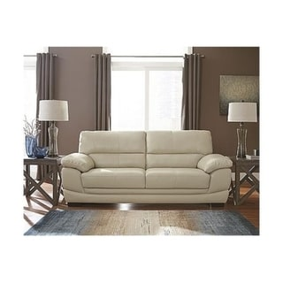 Shop Signature Design By Ashley Fontenot Contemporary Cream Leather Sofa On Sale