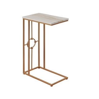 StyleCraft Faux Marble C Table - Gold Powder Coated Frame