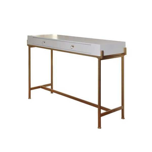 2 Drawer White Lacquer Console Table Antique Gold Frame