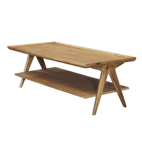 Rectangular 2-tier Natural Coffee Table
