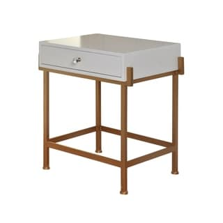 1-drawer White Lacquer Side Table - Antique Gold Frame