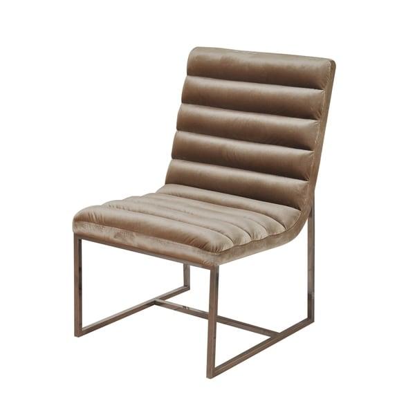 Shop Silk Road Channel Back Champagne Velvet Lounge Chair