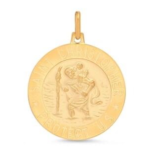 14k Yellow Gold Italian Saint Christopher Medal