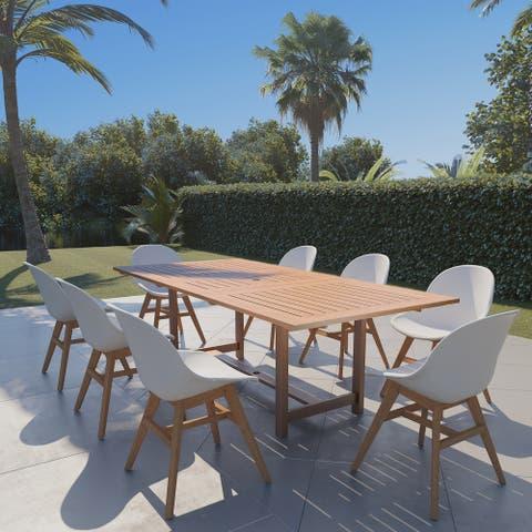 Amazonia Bonita White 9-piece Extendable Rectangular Patio Dining Set