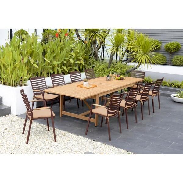Amazonia Teak Clemson 11-piece Cast Aluminum/ Teak Extendable Rectangular Patio Dining Set with Tan Cushions