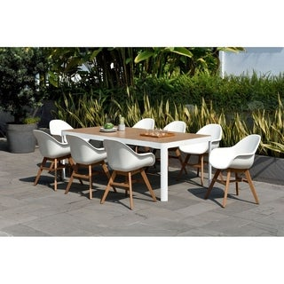 Amazonia Teak Hawaii White 9 Piece Rectangular Patio Dining Set