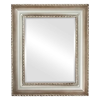 Somerset Framed Rectangle Mirror in Silver Shade - Silver/Brown