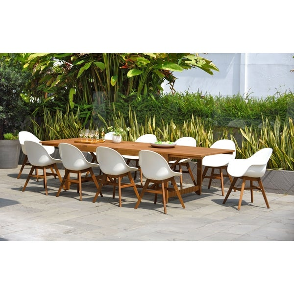 Amazonia Hawaii White 11 piece Extendable Rectangular Patio Dining Set