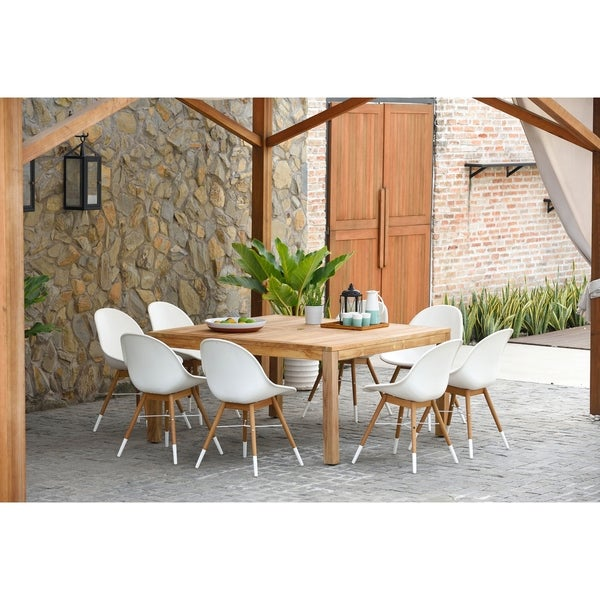 Superbe Amazonia Teak Bonita White 9 Piece Square Sidechair Patio Dining Set