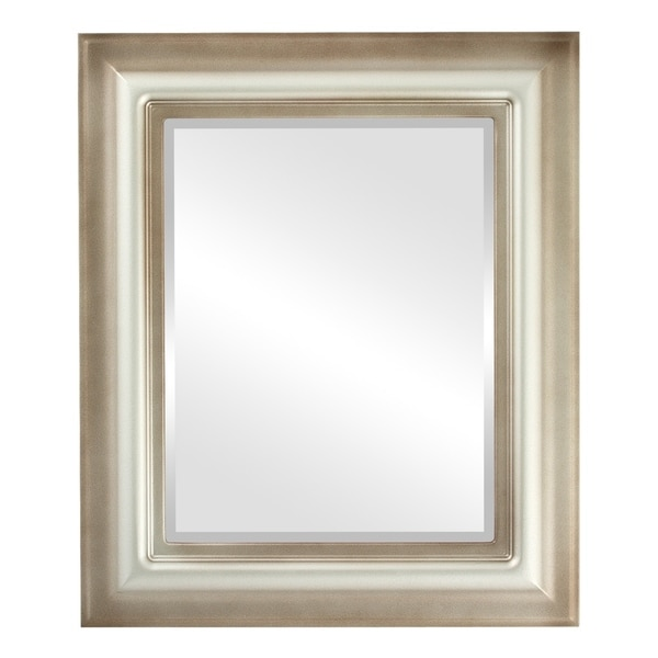 Lancaster Framed Rectangle Mirror in Silver Shade - Silver/Brown