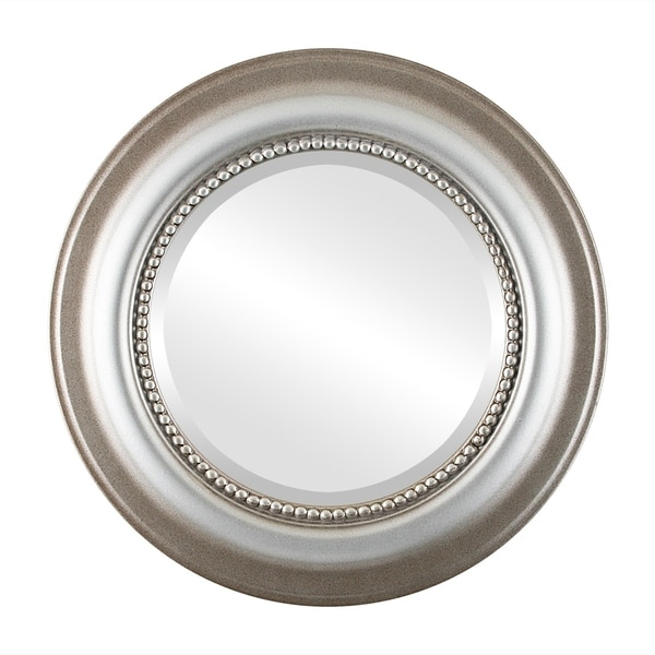 Heritage Framed Round Mirror in Silver Shade - Silver/Brown