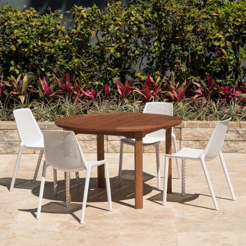 Amazonia Teak Nassau White 5-piece Round Sidechair Patio Dining Set