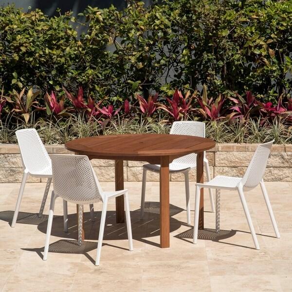 Discount Dining Sets Free Shipping: Shop Amazonia Teak Nassau White 5-piece Round Sidechair