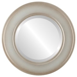 Montreal Framed Round Mirror in Silver Shade - Silver/Brown