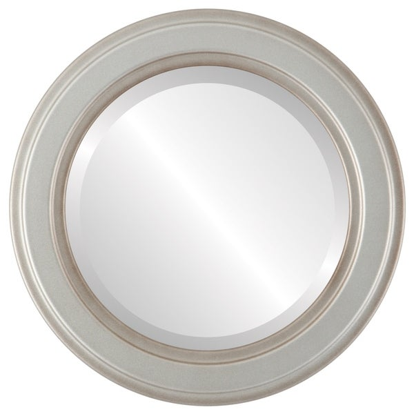 Wright Framed Round Mirror in Silver Shade - Silver/Brown