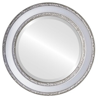 Monticello Framed Round Mirror in Silver Shade - Silver/Brown