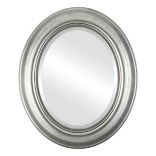 Lancaster Framed Oval Mirror in Silver Leaf with Black Antique - Silver/Black