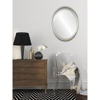 Pasadena Framed Oval Mirror in Silver Leaf with Brown Antique - Silver/Brown