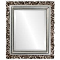 Venice Framed Round Mirror in Silver Leaf with Brown Antique - Silver/Brown
