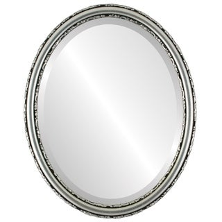 Virginia Framed Oval Mirror in Silver Leaf with Black Antique - Silver/Black