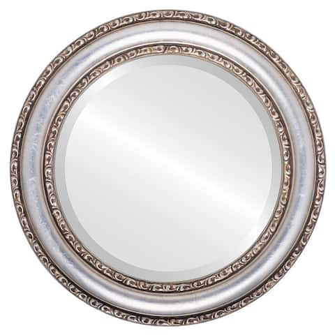 Dorset Framed Round Mirror in Silver Leaf with Brown Antique - Silver/Brown