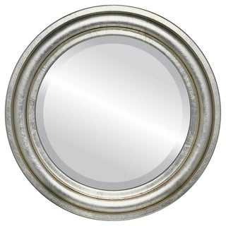 Philadelphia Framed Round Mirror in Silver Leaf with Brown Antique - Silver/Brown