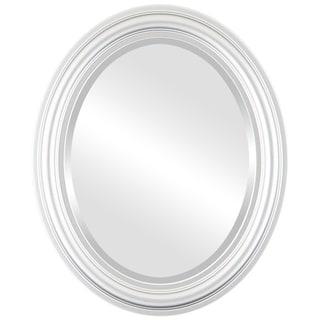Philadelphia Framed Oval Mirror in Silver Spray