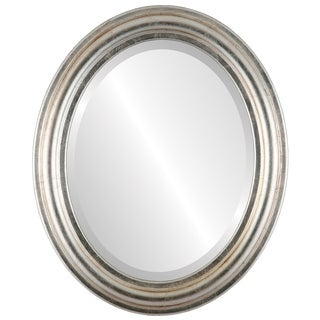 Philadelphia Framed Oval Mirror in Silver Leaf with Brown Antique - Silver/Brown