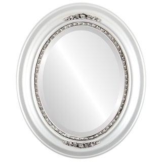 Boston Framed Oval Mirror in Silver Spray
