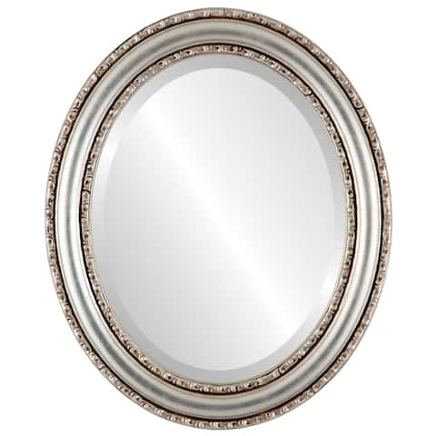 Dorset Framed Oval Mirror in Silver Leaf with Brown Antique - Silver/Brown