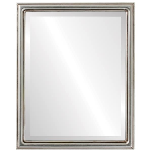 Saratoga Framed Rectangle Mirror in Silver Leaf with Brown Antique - Silver/Brown
