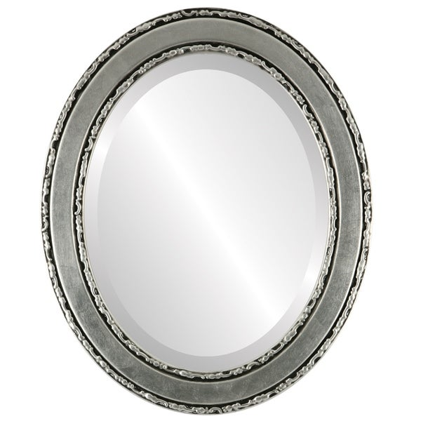 Monticello Framed Oval Mirror in Silver Leaf with Black Antique - Silver/Black