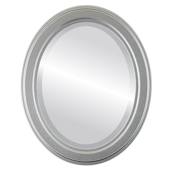 Wright Framed Oval Mirror in Silver Spray