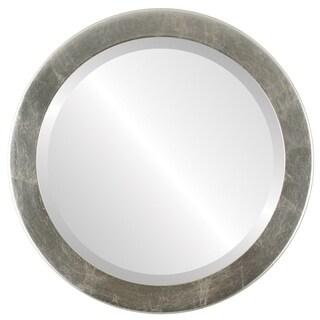 Vienna Framed Round Mirror in Silver Leaf with Brown Antique - Silver/Brown