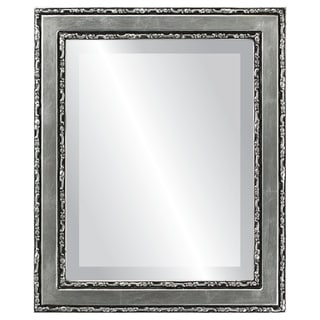 Monticello Framed Rectangle Mirror in Silver Leaf with Black Antique - Silver/Black