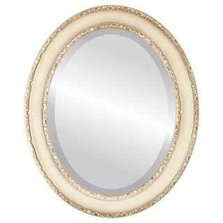 Monticello Framed Oval Mirror in Taupe