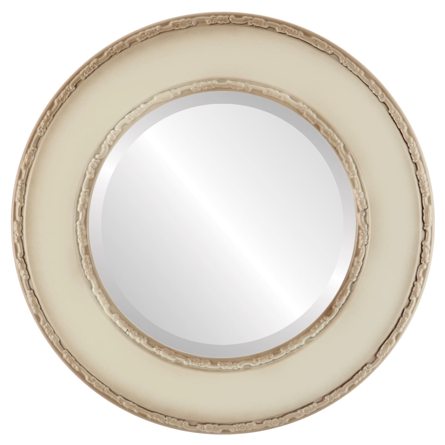 Paris Framed Round Mirror in Taupe (23x23)