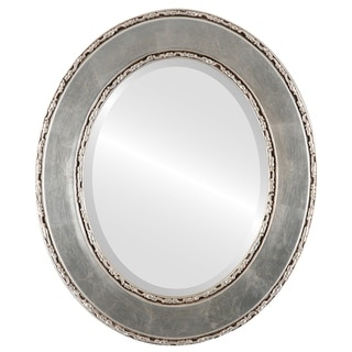 Paris Framed Oval Mirror in Silver Leaf with Brown Antique - Silver/Brown
