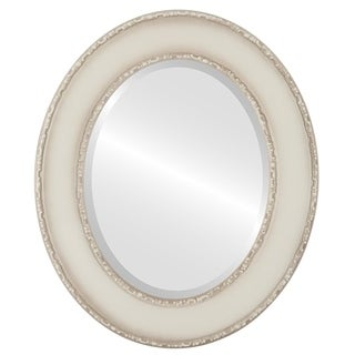Paris Framed Oval Mirror in Taupe