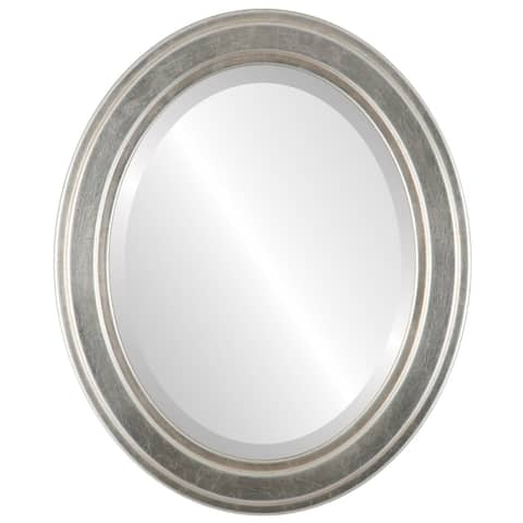 Wright Framed Oval Mirror in Silver Leaf with Brown Antique - Silver/Brown