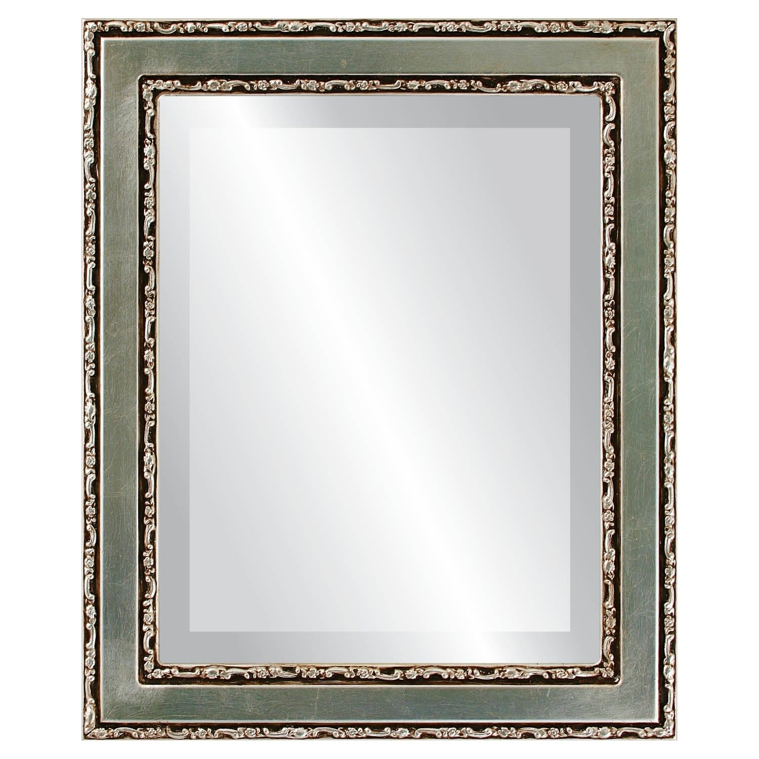 Monticello Framed Rectangle Mirror in Silver Leaf with Brown Antique - Silver/Brown (27x33)