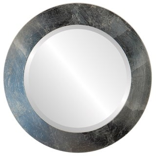 Soho Framed Round Mirror in Silver Leaf with Brown Antique - Silver/Brown