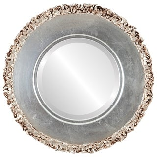 Williamsburg Framed Round Mirror in Silver Leaf with Brown Antique - Silver/Brown