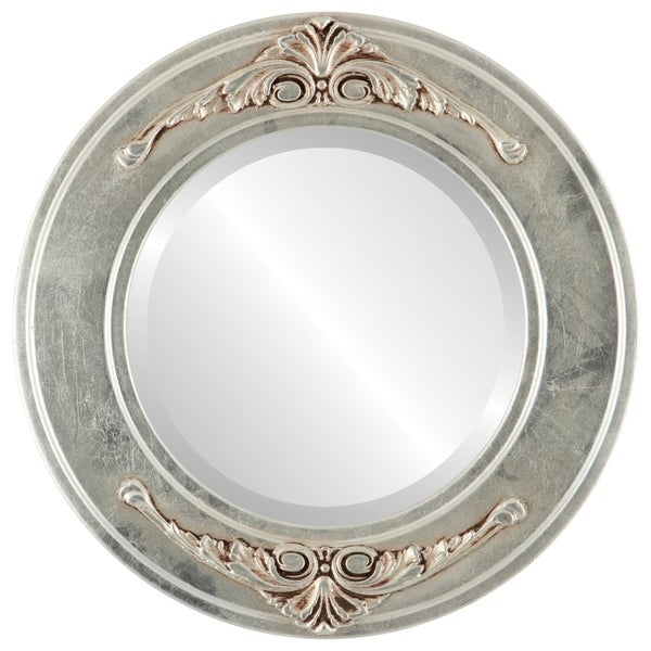 Ramino Framed Round Mirror in Silver Leaf with Brown Antique - Silver/Brown