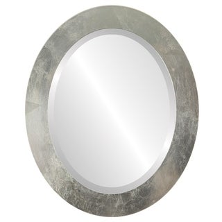 Soho Framed Oval Mirror in Silver Leaf with Brown Antique - Silver/Brown