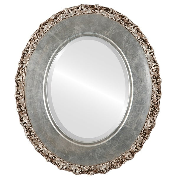 Williamsburg Framed Oval Mirror in Silver Leaf with Brown Antique - Silver/Brown